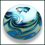 Click to view larger image of  Lundberg Studios 1973: Butterfly and waves paperweight (SL) (Image1)