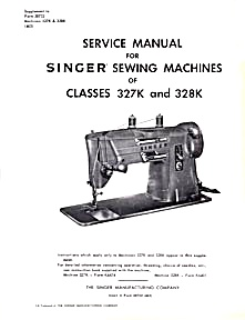 PRINTED Singer 327 K sewing machine service and parts manual (smm1014) (Image1)