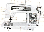 Click here to enlarge image and see more about item smm548: PRINTED Morse 4300 Fotomatic III sewing machine manual (smm548)