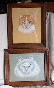 PAIR OF FRAMED PASTEL CAT PORTRAITS (Image1)