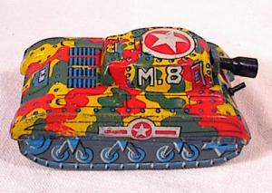 "M-8 FRICTION TANK~3""~1940/50~MODERN TOYS~JAPA (Image1)"