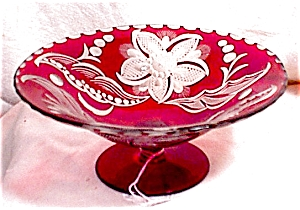 Stained Ruby Glass Footed Compote
