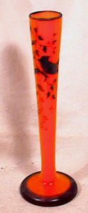 Hand Painted Overlay Orange Czech Glass Vase