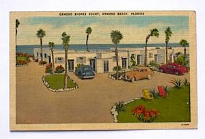 ORMOND MOTEL FLORIDA + OLD CARS  UNUSED LINEN (Image1)
