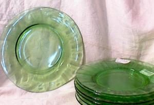 6 WHEEL CUT  GREEN GLASS  LUNCHEON PLATES (Image1)