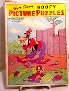 Two Walt Disney Goofy Puzzles - Whitman - 1950's