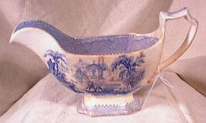 Blue Staffordshire Gravy Boat - Fishing Scene