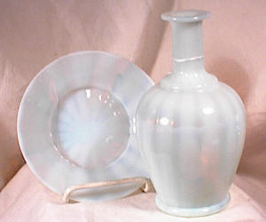 OPALESCENT GLASS WATER BOTTLE~ SAUCER~1880'S (Image1)