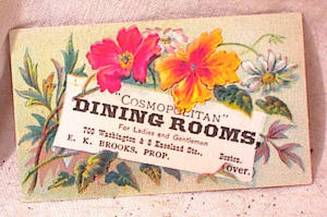 Trade Card - Cosmopolitan Dining Room - Boston