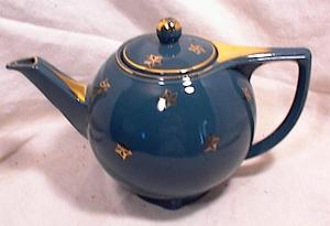 HALL TEAPOT~STAR SHAPE #0740~TEAL BLUE (Image1)