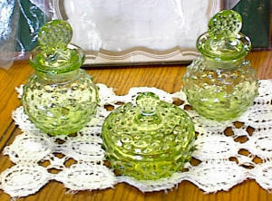 3 Pc L E Smith Glass Dresser - Bath - Set - 1920's