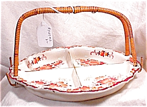 Hand Painted Handled Tidbit Tray