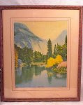 Click here to enlarge image and see more about item 1110: FINE ARTS STUDIO CHROMOLITH~MT LAKE SCENE~189
