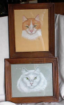 Click here to enlarge image and see more about item 1116: PAIR OF FRAMED PASTEL CAT PORTRAITS
