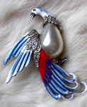 Click here to enlarge image and see more about item 1209: VINTAGE RED, WHITE, BLUE  BIRD PIN~ENAMEL~PEA
