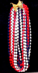 Click here to enlarge image and see more about item 1213: PATRIOTIC~BICENTENNIAL~RED/WHITE/BLUE~NECKLAC