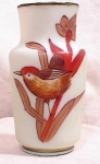 SATIN GLASS VASE~HP WREN~OLD