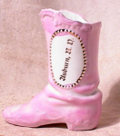 Click here to enlarge image and see more about item 137: GERMAN PORCELAIN BOOT~AUBURN ND~pre 1940