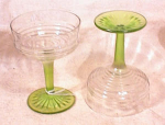Click here to enlarge image and see more about item 1629: PR 2 TONED GR/CLEAR TALL SHERBETS~CIRCLE PATT