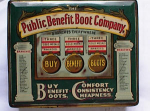 Click here to enlarge image and see more about item 1892: PUBLIC BENEFIT BOOT TIN