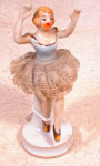 "Click here to enlarge image and see more about item 2105: LACE SKIRT 4 1/2"" BALLERINA FIGURINE~VINTAGE~"