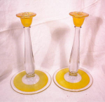 "Click here to enlarge image and see more about item 2165: PAIR 9"" CENTRAL GLASS CANDLESTICKS~1923"