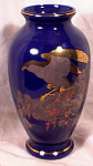 Click here to enlarge image and see more about item 2166: LG ASAHI COBALT/GOLD PORCELAIN VASE