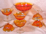 Click to view larger image of CARNIVAL ~HUGE COMPOTE & 6 SHERBETS~MARIGOLD (Image1)