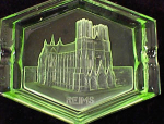 Click here to enlarge image and see more about item 2394: GREEN GLASS INTAGLIO REIMS CATHEDRAL SOUVENIR