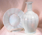 Click here to enlarge image and see more about item 2591: OPALESCENT GLASS WATER BOTTLE~ SAUCER~1880'S