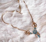 Click here to enlarge image and see more about item 2804: VINTAGE BLUE  & CLEAR RHINESTONE NECKLACE