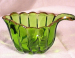 Click here to enlarge image and see more about item 2884: FOREST GREEN/GOLD CREAMER~CRYSTALINA~US GLASS