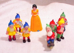 Click here to enlarge image and see more about item 3152: PLASTIC SNOW WHITE + 7 DWARFS w GARDEN TOOLS