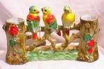 Click here to enlarge image and see more about item 3182: GOLDCASTLE PARROT - PARAKEET DOUBLE VASE