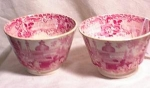 Click here to enlarge image and see more about item 3268ms: PR HANDLELESS CUPS ~RED TRANSFERWARE ~
