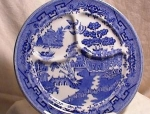 Click here to enlarge image and see more about item 3321: BLUE WILLOW GRILL PLATE ~ BUFFALO CHINA