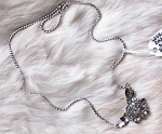 Click to view larger image of VINTAGE STERLING & RHINESTONE FLORAL NECKLACE (Image1)
