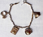 Click here to enlarge image and see more about item 488: 1950's SWEETHEART CHARM BRACELET
