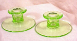 Click here to enlarge image and see more about item 515: PAIR CAMBRIDGE GREEN GLASS CANDLE HOLDERS