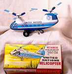 Click here to enlarge image and see more about item 587: U N HELICOPTER~TIN W/UP~MIB~EARLY 60'S