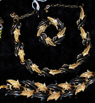 MODE ART BLACK/GOLD PARURE~NECKLACE~BRACELET~