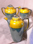 Click to view larger image of YELLOW/TURQUOISE/SILVER LUSTER COFFEE SET (Image1)