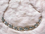 Click here to enlarge image and see more about item 810: VINTAGE AQUA RHINESTONE CHOKER BY LISNER