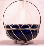 Click here to enlarge image and see more about item 909: ENGLISH SILVER PLATE BASKET~COBALT LINER