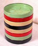 Click here to enlarge image and see more about item 936: 8 PAINTED METAL DRINK COASTERS~1950