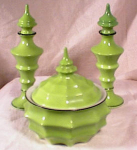 Click here to enlarge image and see more about item 982: 3 PC ~LIME GREEN~ART DECO~VANITY SET