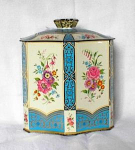 Click here to enlarge image and see more about item adv586: FLORAL TEA OR BISCUIT TIN