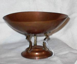 Click here to enlarge image and see more about item me1815: ART DECO FOOTED COPPER AND BRASS COMPOTE