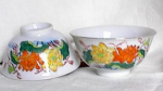 SET OF HAND PAINTED RICE BOWLS