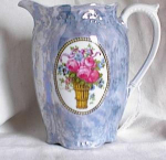 Click here to enlarge image and see more about item po132: BLUE LUSTRE BAVARIAN PITCHER